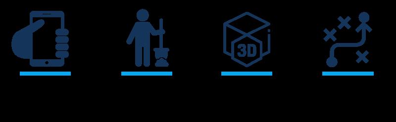 étapes scadeo: filmez la tranchée, refermez la tranchée, éditez et validez vos modèles 3D, dessinez vos vos réseaux sur le modèle 3D